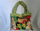 Hawaiian Ladies Handbag. MidCentury. Stunning fabric.  Hand made.