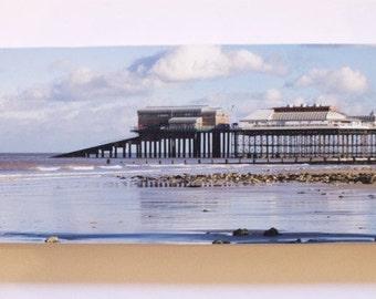 "Cromer Pier, Norfolk photo print mounted on wood 4x10"""