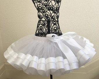 White Ribbon Tutu, Sewn Ribbon Trimmed TuTu, Girl's Tutu, Tutu Skirt, Tutu For Girl's Party/Birthday