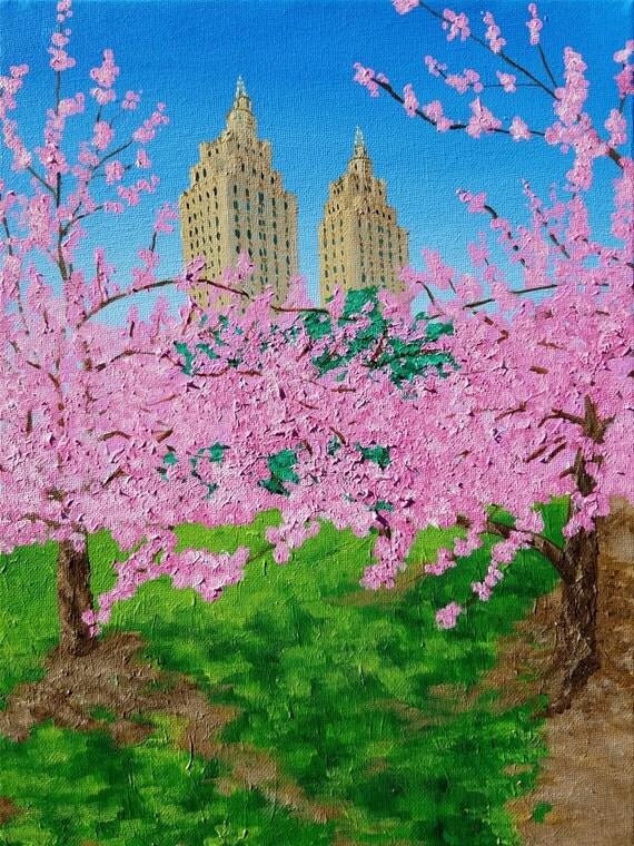 The El Dorado and Central Park Cherry Blossoms - Fine Art Paper
