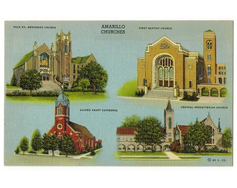 Amarillo Texas vintage linen postcard | Polk Street Methodist, First Baptist, Central Presbyterian Church, Sacred Heart Cathedral | 1930s TX