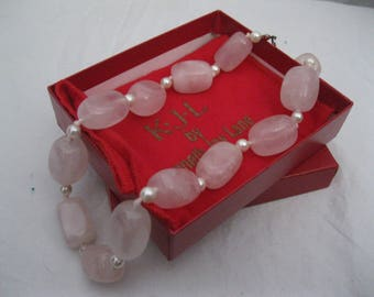 Kenneth Jay Lane KJL  Think Pink Rose Quartz Necklace