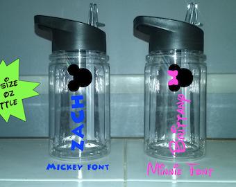 Disney Water Bottle Personalized, Disney 10 oz Tumbler, Skinny Tumbler, Mickey Mouse Tumbler, Minnie Mouse Tumbler, Kids Disney drink cup