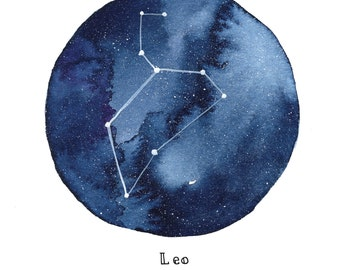 LEO Constellation Zodiac Greeting Card Birthday Card Astronomy Stars