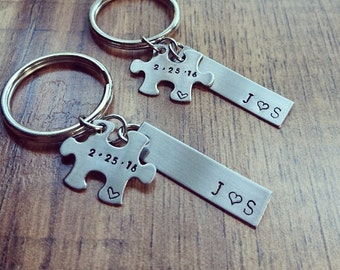 Hand Stamped Personalized Puzzle Piece Keychain - Couples Keychain Set - Wedding Gift - Anniversary Gift Husband Gift - Boyfriend Gift
