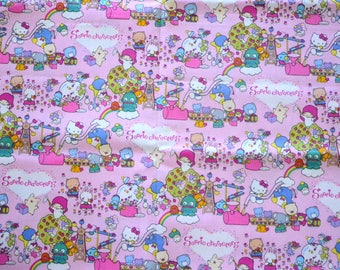 Japanese Fabric Sanrio Characters- Hello Kitty Kiki Lala Twin Little Stars, Pink - 50 cm half meter