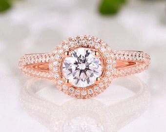 Item089-14K White Gold Round 5.5MM Diamond Ring / Engagement Ring / Semi Mount Ring /