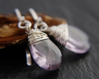 Amethyst Earrings, Teardrop Earrings, Sterling Silver, Wire Wrapped, Gemstone Briolette, Light Amethyst, Lilac, Lavender, Small, Simple