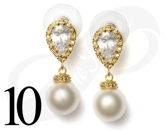Set of 10 Bridesmaid Earrings Gold Bridal Jewelry Bridesmaid Gold Jewlery Pearl Earrings Bridal Jewlery Pearl Bridal Jewelry Bridesmaid Gift