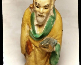 Collectible Figurine Asian Man / Far East Male Figurine in Yellow Robes / Best Gift Idea / F1386