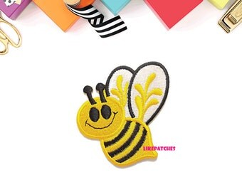 Happy Yellow Bee Cute Cartoon Animal Print New Sew on / Iron Patch Embroidered Applique Size 6.3cm.x7.3cm.