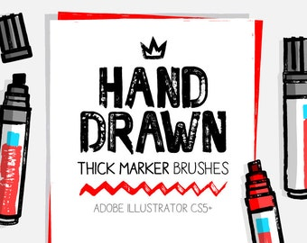 84 Illustrator thick and dry marker brushes