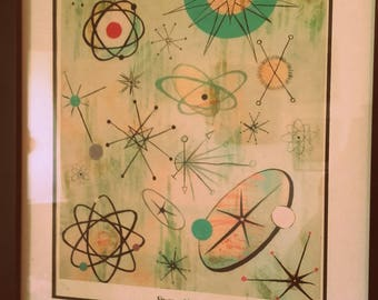Framed Atomic Mid Century Modern print picture