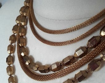 Vintage 60's Rustic Boho  5 strand brass necklace