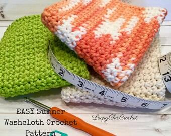 EASY Crochet Washcloth Pattern for Beginners, Summer Cotton Washcloth Pattern, Written Washcloth Crochet Pattern