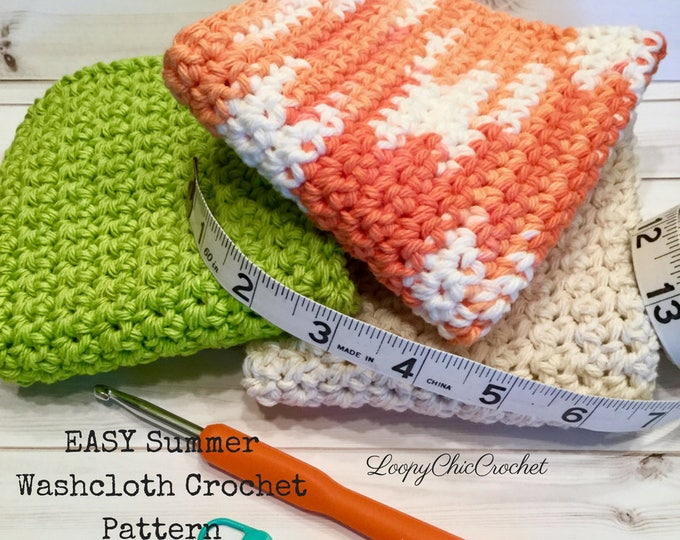 EASY Crochet Washcloth Pattern for Beginners, Summer Cotton Washcloth Pattern, Written Washcloth Crochet Pattern