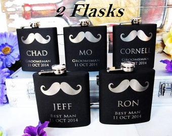 Set of 2 Custom Gift Ideas for Bridesmaid, Groomsmen, Best Man, Maid of Honor & More //  Unique Wedding Flasks  // Personalized Flasks