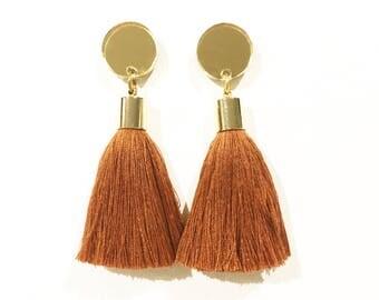 Brass tassel earrings. Gold mirror acrylic laser cut earrings brass tassels