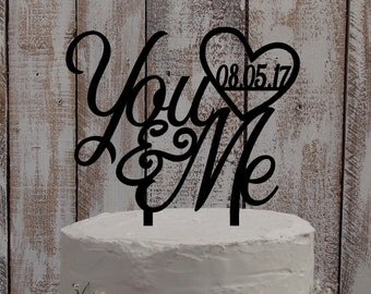 "Wedding Cake Topper ""You and Me"" - Wedding, Cake, Topper"