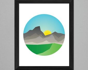 Illustration - Circle Sunrise, 8x10 print