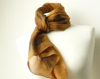 gold silk scarf gold scarf oak print silk scarf eco friendly scarf hand dyed scarf oak leaf scarf brown silk scarf TraditionalDyeWorks