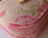 25 x Cloth Wipes - perfect for baby - nappy change or bath time - MCN - flannelette and microfleece - pink floral roses - girl - woman