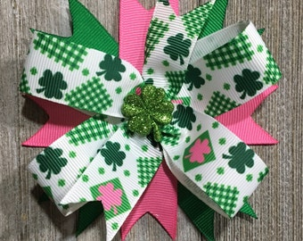 St Patricks Day Hair Bow, St Pattys Clip, Luck of the Irish