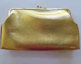 Vintage, gold, makeup bag