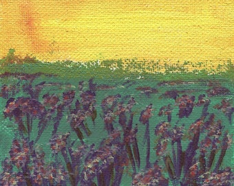 "Warmth, Landscape, 4""x4"" Stretched Canvas Block, Acrylic Painting, Original Artwork"