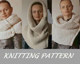 KNITTING PATTERN Chunky Infinity Cowl Knit Scarf Pattern Eternity Scarf Pattern Knitting Scarves Pattern Cowl scarf Pattern Knitting Pattern