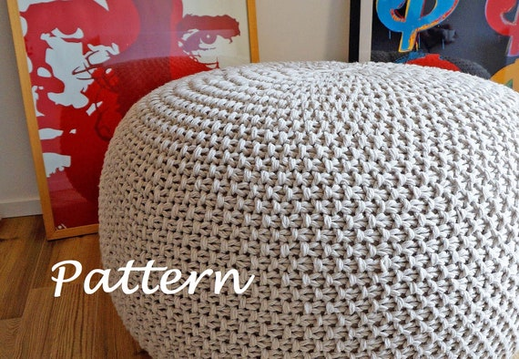 KNITTING PATTERN Knitted Pouf Pattern Poof Knitting Ottoman Footstool Home Decor Pillow Bean Bag ...