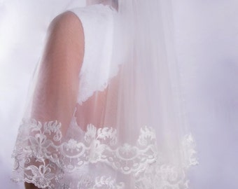 2 Layers Veil, 2 Tiers Veil, Elbow Blusher Veil, Veil with Blusher, Drop Veil, Wedding Veil, Champagne Veil, Bridal Veil, White Veil, Custom