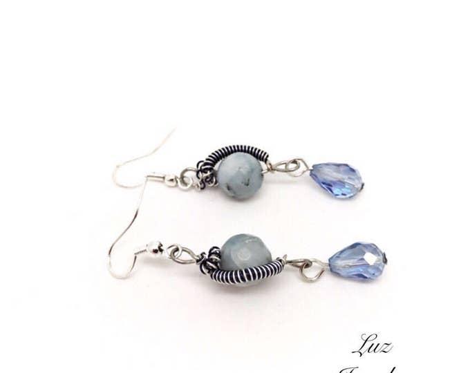 Angelite gemstone earrings, angelite earrings, angelite jewelry, celestine earrings, blue stone earrings