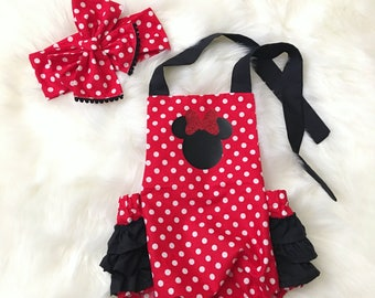 Red and Black Minnie Mouse Romper/Minnie Birthday Outfit