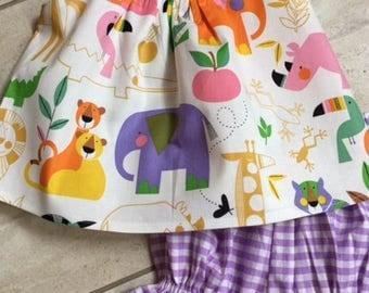 Shorts sets,   Ruffle Bloomers, girls, toddler,  zoo fabric