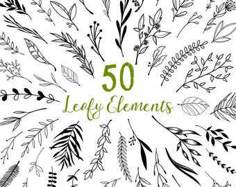 80% OFF SALE Leaf Clipart, Leaf Clip Art, Leaves, Plants, Leaf Graphics, Printable, Commercial Use