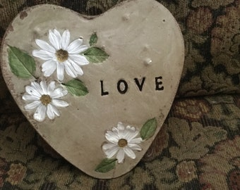 "8 in. Concrete ""Daisies"" heart  garden stone/ stepping stone/garden art"