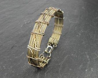 Men Bracelet Braonan woven in steel and brass