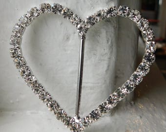 Large  rhinestone heart slide buckle | scarf slides~large buckle slide~Heart slide~Crystal~silver-tone metal | 2-1/4""