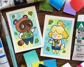 Animal Crossing Tom Nook and/or Isabelle Mini ACEO ATC Prints by Michelle Coffee
