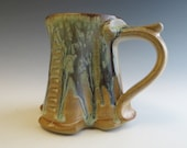 Tree Trunk Mug Handmade Colorful Golden Tan with Soft Blues