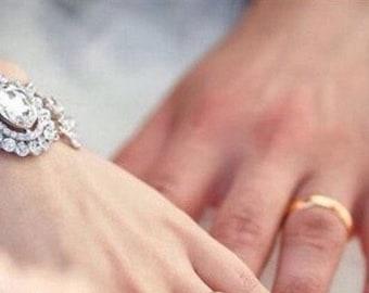 Wedding crystal and rhinestone bracelet/cuff, bride cuff, crystal bracelet wedding jewelry bridal jewelry art deco great gatsby jewelry cuff