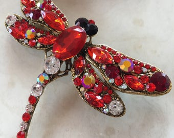 Red Dragonfly Brooch Pin, Dragonfly Pin, Dragonfly Jewellry, Dragonfly Jewelry, Insect Pin, Insect Brooch Pin, Insect Jewellery