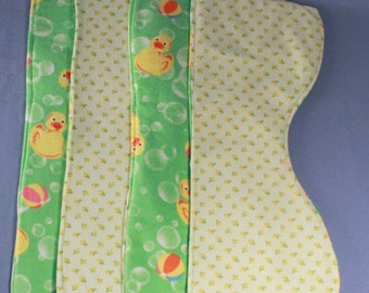 Baby Burp Cloths, Reversible, (green/yellow), Set of 4, Contoured