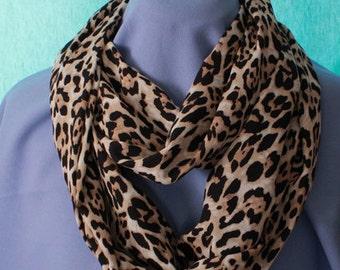 Infinity Scarf, Leopard Print, Satin