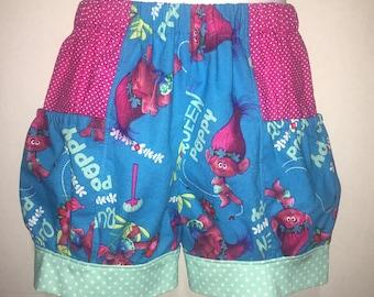 Girls Trolls Poppy Shorts Pink Polka Dot Girl Girls Baby Toddler Boutique Bubble Shorts with Side Pocket! Birthday Party Park Everyday Troll