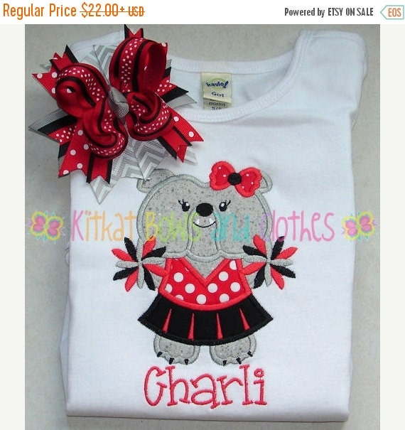 On sale bulldog cheerleader applique shirt by for Applique shirts for sale