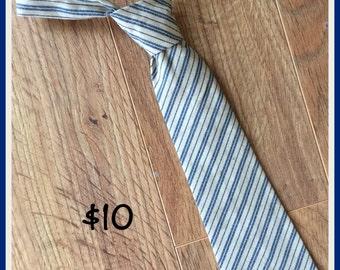Little Boy Necktie / Handmade Boy Tie / Blue and Cream Striped