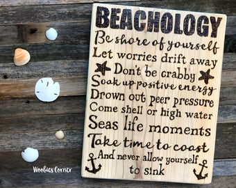 Beach quote sign, Nautical decor, Beach signs, Beachology, Beach decor, Beach wood signs, Nautical signs, Inspirational signs