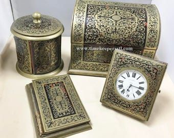 Antique Stationery Set Boulle Marquetry Boulle Work Table Box Clock J.C.Vickery Lot of 4 Rare Collectible Items
